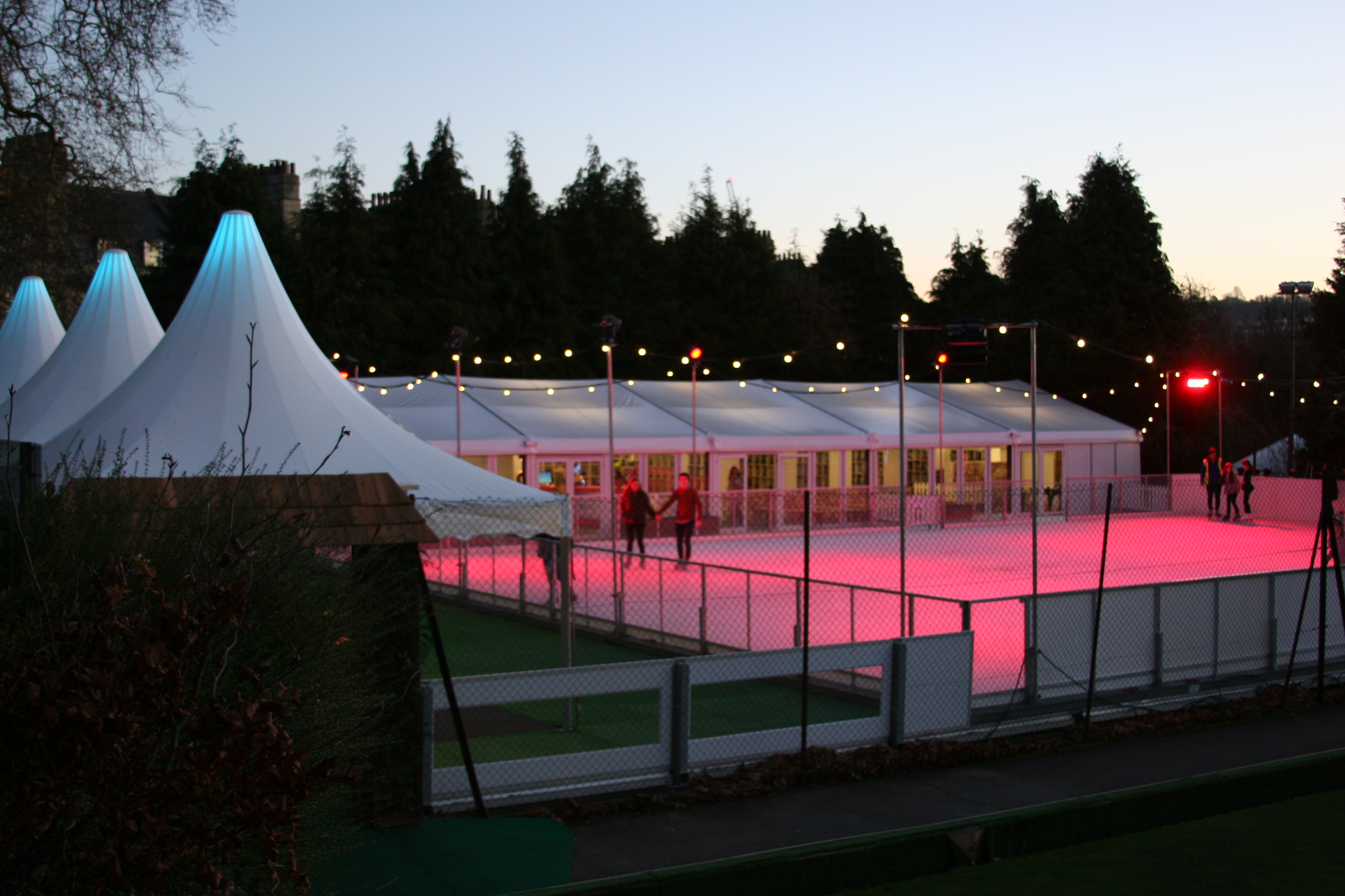 Bath on Ice Rink Outside Chinese Hats Marquee