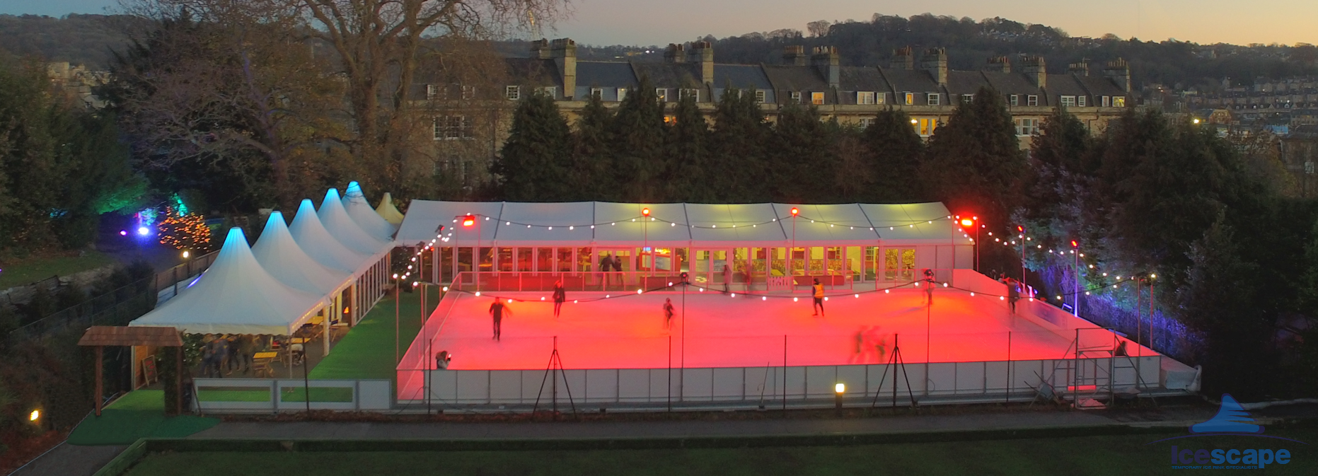 Evening aerial shot of Bath on Ice